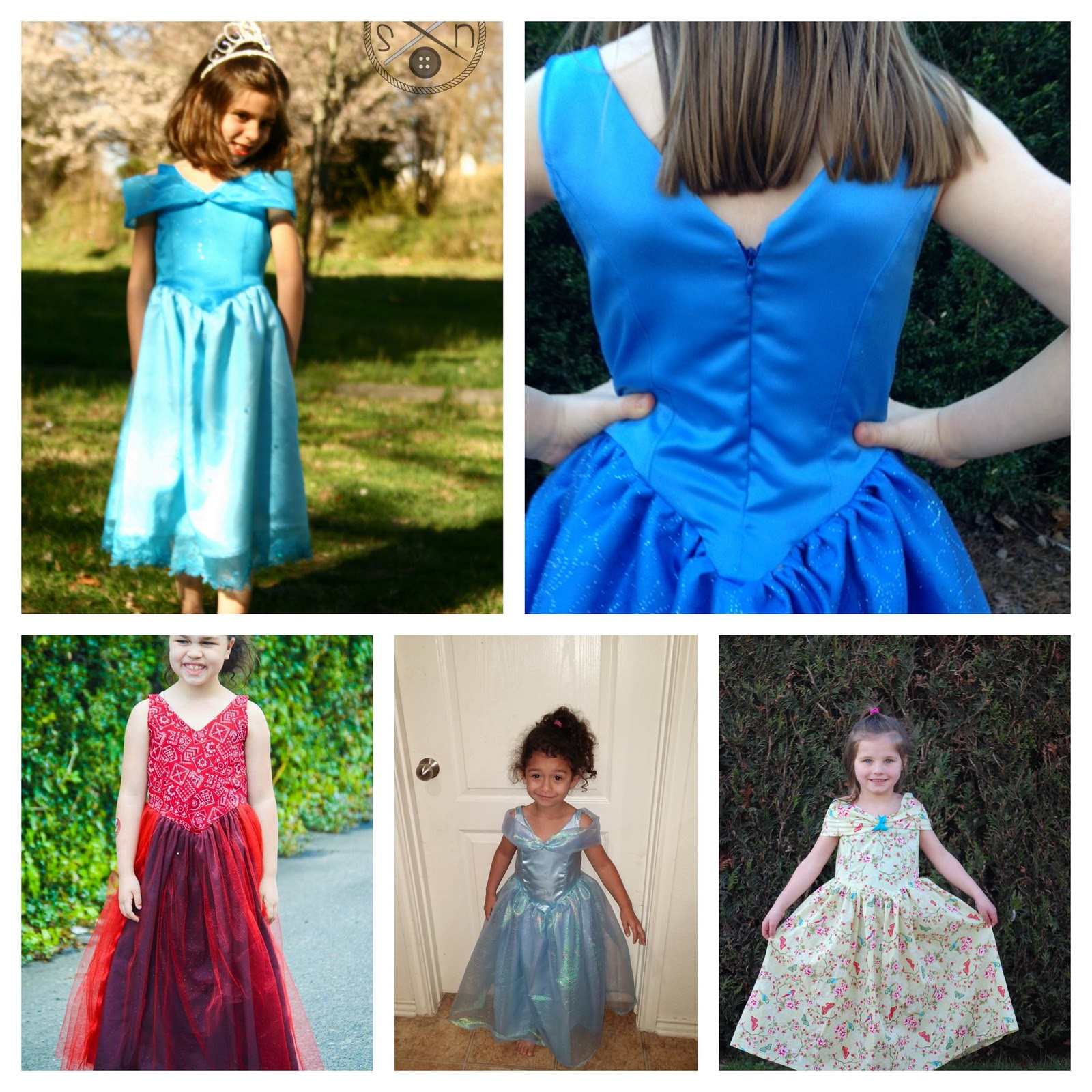 Little girls in princess party dress collage