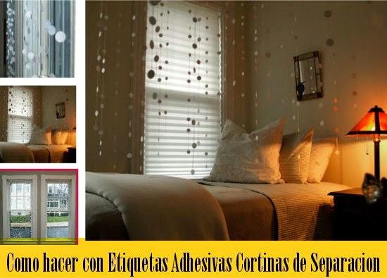 manualidades, cortinas con etiquetas adhesivas redondas, decoración