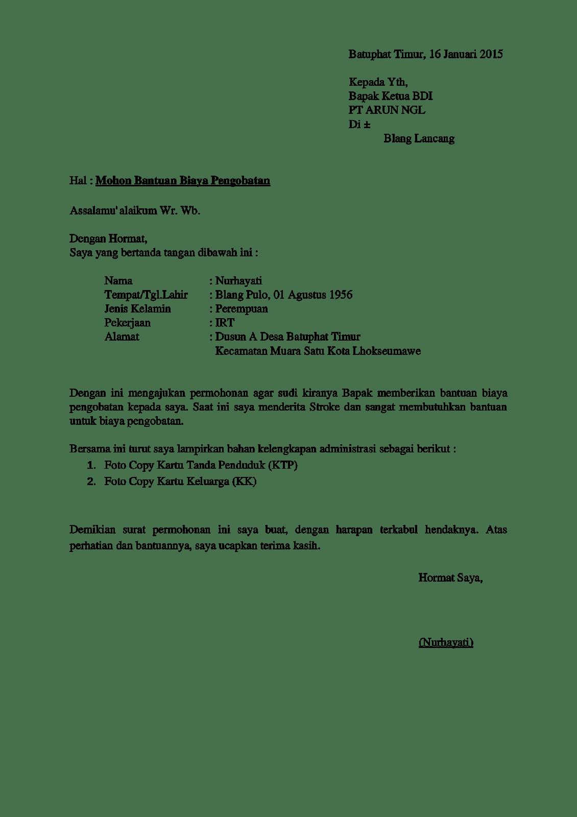 contoh surat permohonan bantuan barang ke dinas