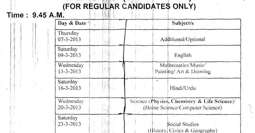 Jkbose Ssc 10th Class Exam 2015 Date Sheet Time Table 2015