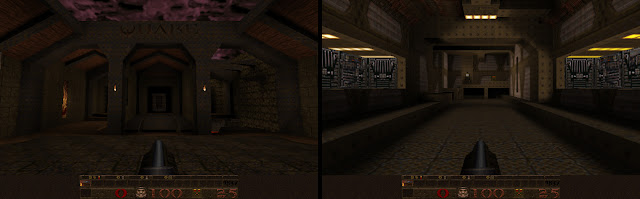 Quake 1 level select and level 1 screen shots