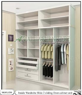 Dalam lemari baju minimalis unit cabinet sliding Slide