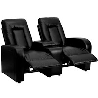 Flash Furniture 2 Seat Black Leather Home Theater Recliner With Storage  Console