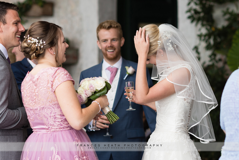 Wedding confetti in bride's hair