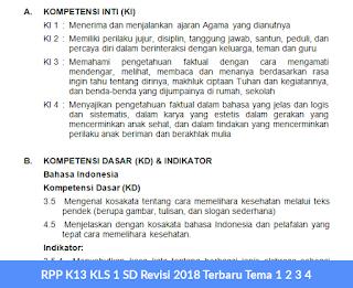 RPP K13 KLS 1 SD Revisi 2018 Terbaru Tema 1 2 3 4