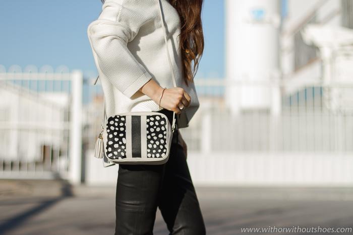 Bolso Bandolera animal print blanco negro modelo Madison de Gigi New York
