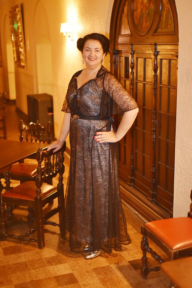 1930s lace silk charmeuse dress