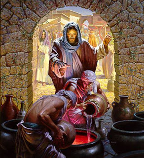 Jesus turns water into  wine - Artist unknown
