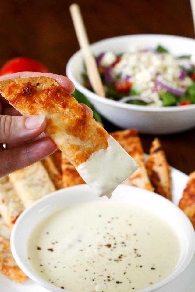 Pizza Sticks with Three Cheese Alfredo Dip
