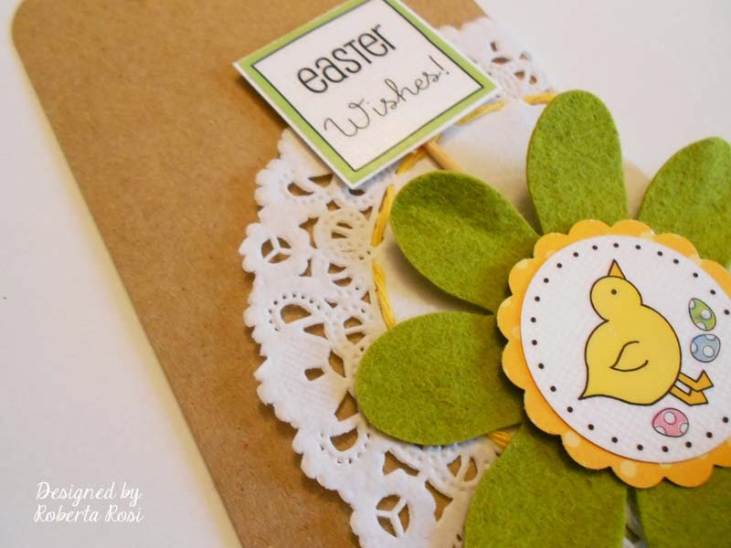 SRM Stickers Blog - Easter Bag and Tag by Roberta - #easter #tag #burlap #stickers #doilies #twine