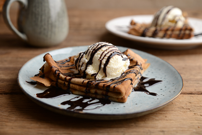 Waffle Whisk Coffee Pancakes Crepes With Vanilla Ice Cream And Chocolate Sauce
