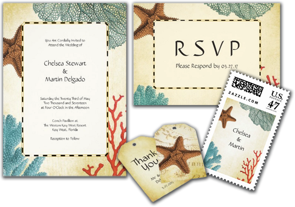 Nautical Caribbean Starfish Rustic Wedding Invitation