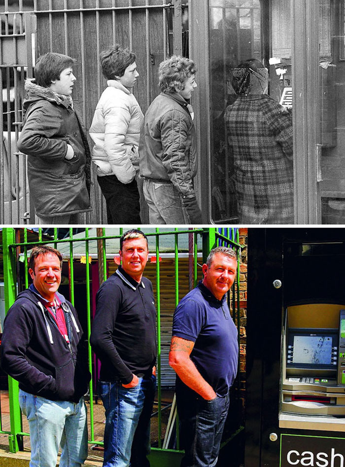 Photographer Recaptures Old Pictures Creating A Beautiful Reunion Of People He Photographed Decades Ago - Queuing For The Phone (1981 And 2016)