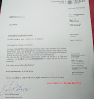 letter from Polizei Sachsen to Hotels re Romanian tourists: Also dieses hier, sie sagten gestern Weiterleitung und Prüfung zu. Im betroffenen Hotel wurde dies von einer Person vorbeigebracht, die sich als Behördenmitarbeiterin ausgab.