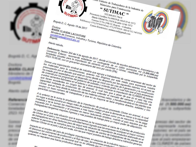 Carta a la Dra María Claudia Lacouture Ministerio de Comercio 16 de agosto de 2017