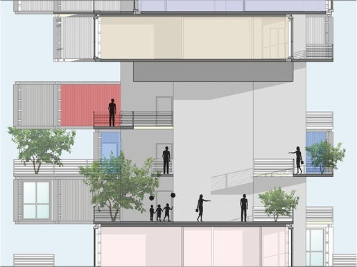 07-Partial-Elevation-Ganti-and-Associates-Architecture-Recycled-Container-Skyscraper-Homes-www-designstack-co
