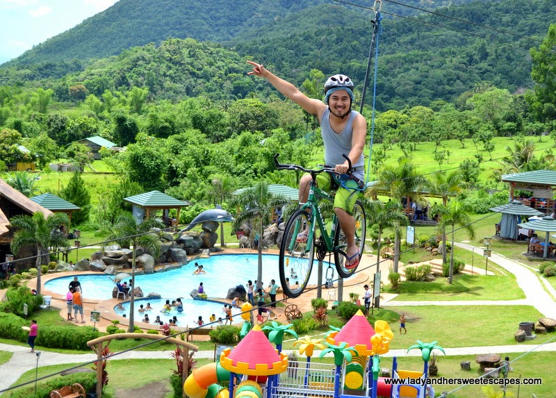 Ed in the sky bicycle at Campuestohan Highland Resort