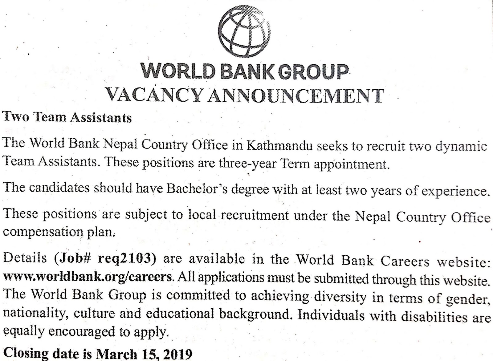 World Bank Group Vacancy Notice for Team Assistant.