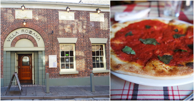 left: a picture of villa romana liverpool, a pale red brick building with large windows and an arched beige doorway. Right: a tomato garlic bread topped with basil leaves.