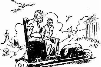 Illustration accompanying the reprint in Worlds Beyond magazine of short story Valley of Doom by Halliday Sutherland. Picture show the death row victim driven towards gas chamber by his executor.