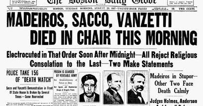 the case of sacco and vanzetti convicted for burglary and murder Bartolomeo vanzetti, left, and nicola sacco, anarchists who were convicted of murder and executed on aug 23, 1927 enlarge this image (photo: boston public library.