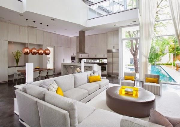 d coration salon ouvert sur la cuisine d cor de maison. Black Bedroom Furniture Sets. Home Design Ideas