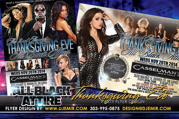 All Black Attire Thanksgiving Eve Party Flyer design Denver Colorado