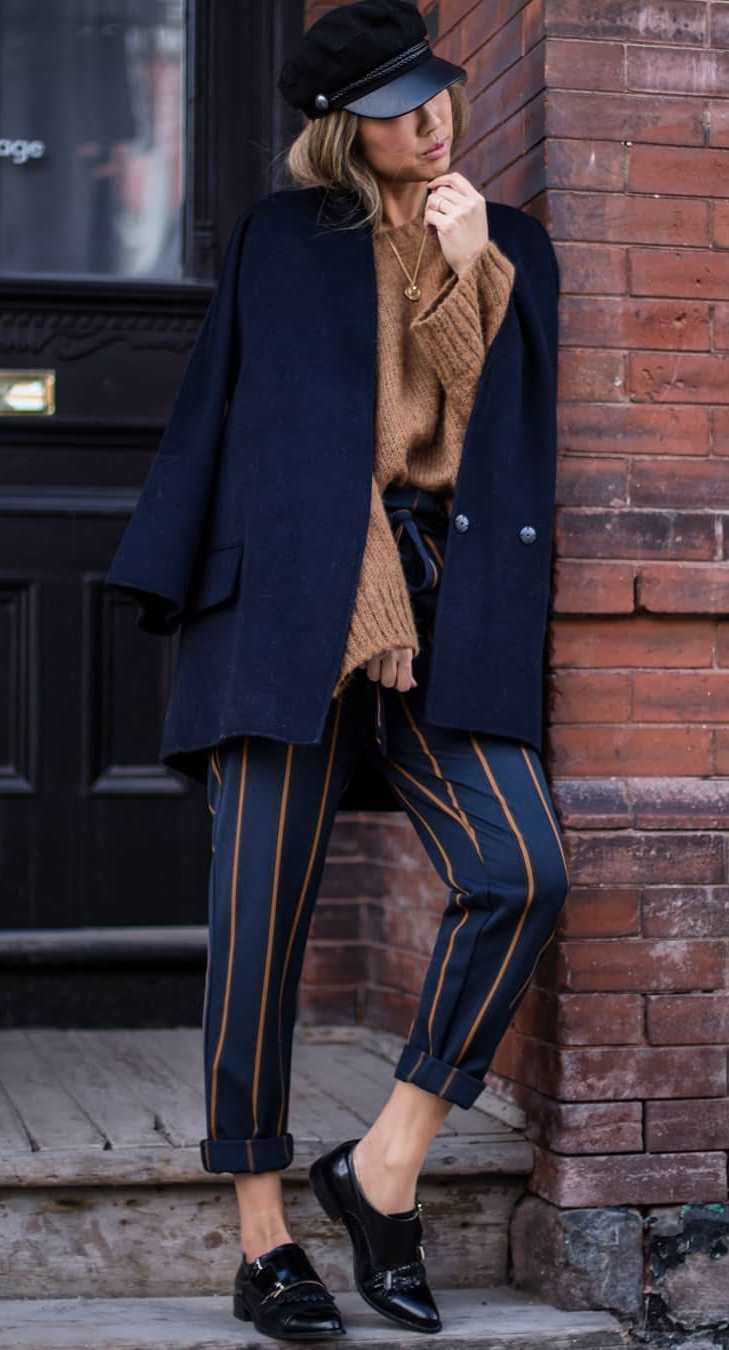 fall office outfit ispiration / brown sweater + coat + hat + striped pants + loafers