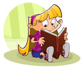 Kitap okuyan kız çocuğu