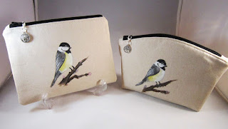 Hand painted Chickadee Zippered Pouch Cosmetic Bag