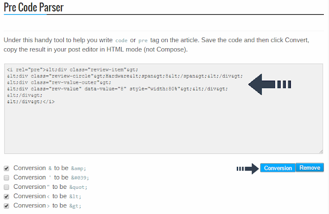 pre code parser