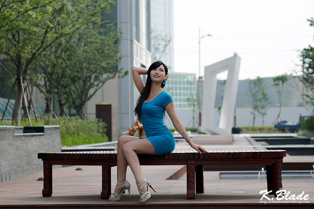 5 Cha Sun Hwa in Blue Mini Dress-Very cute asian girl - girlcute4u.blogspot.com