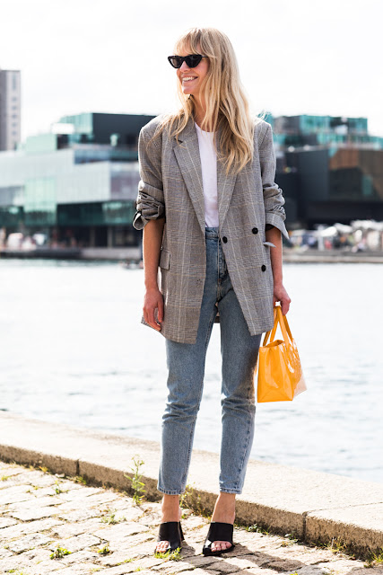 Blazer White T Shirt Vintage Inspired Jeans Mules