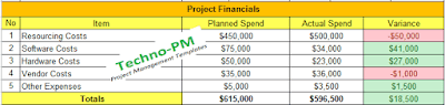 project financials, report format