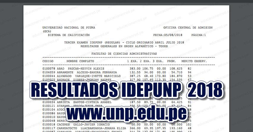 Resultados IDEPUNP UNP 2018 (Examen 5 Agosto) Resultados Generales - Tercer Examen - Ciclo Ordinario Abril Julio 2018 (Sullana - Talara - Paita - Sechura - Chulucanas - Tambogrande - Piura - Ayabaca - Huancabamba) Universidad Nacional de Piura - www.unp.edu.pe
