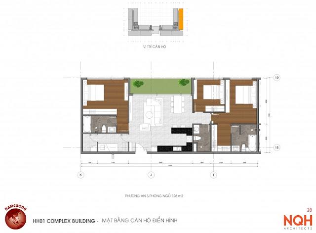 Mặt bằng căn hộ 125m - Anland Nam Cường