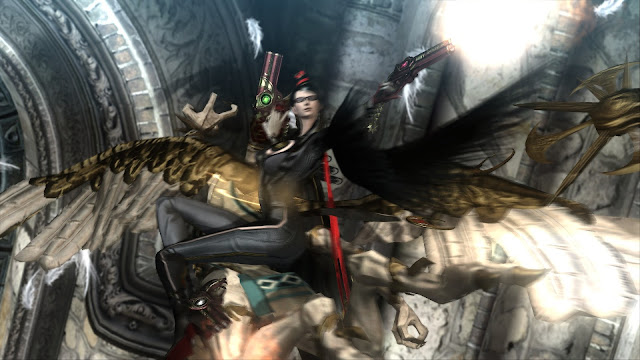 Bayonetta is in the air firing guns at enemies