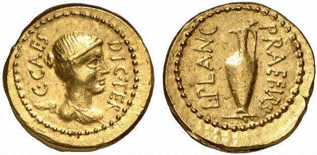 áureo con victoria de Julio César