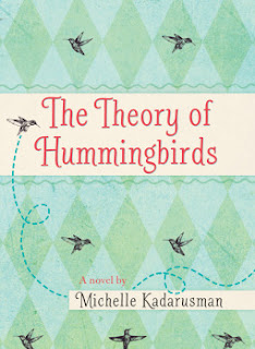 The cover has the book title with tiny humming birds against a background of green diamonds. This image accompanies a book review at That's Another Story by Andrea L Mack