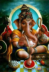 Ele é caracterizado por ter uma cabeça de elefante e corpo de gente e também popularmente conhecido como Senhor dos obstáculos.