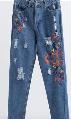 Blue-Embroidery-Ripped-Raw-Hem-Jeans