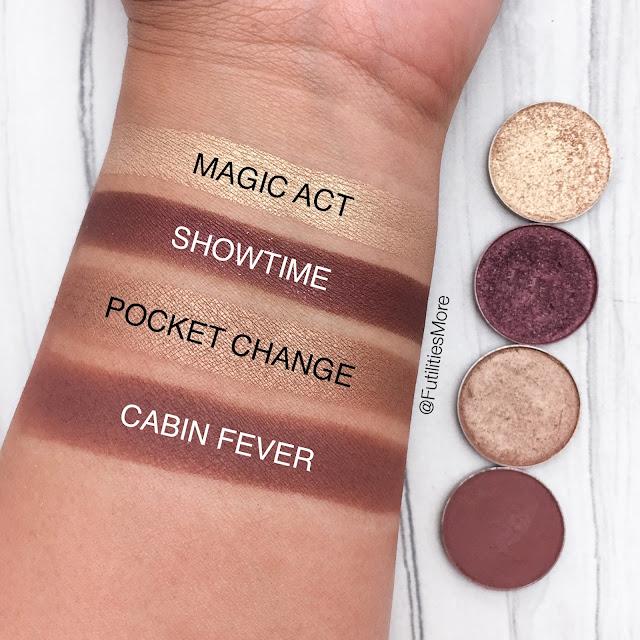 Makeup Geek Quad Idea #11, magic act, showtime, pocket change, cabin fever, futilitiesmore, futilitiesandmore, futilities and more