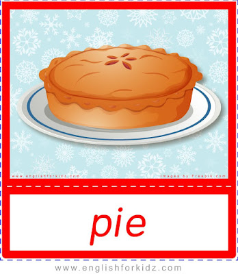 Pie, ESL Christmas food flashcards