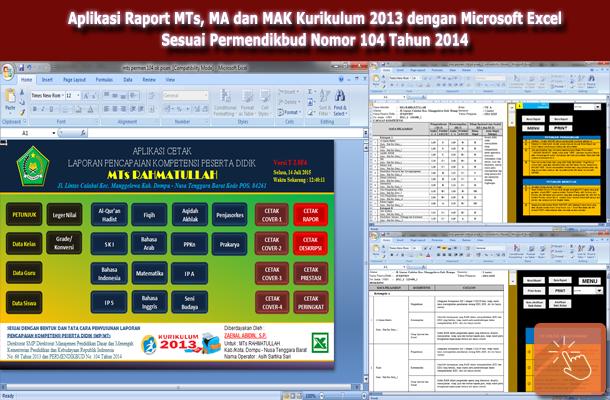 Aplikasi Raport MTs, MA dan MAK Kurikulum 2013 Penyesuaian dengan Permendikbud Nomor 104 Tahun 2014