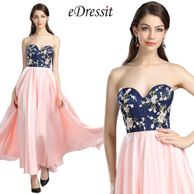 Strapless Blue Pink Christmas Party Dress, Prom Dress