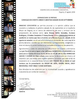 ► Jerry Rivera, Willie Gonzales, Gustavo Rodriguez, Christian Fernandez y Danny Daniel en Concierto
