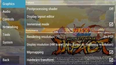Tampilan untuk set rendering resolution pada 2xPSP