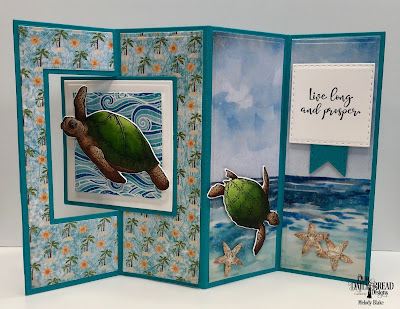 Our Daily Bread Designs Stamp/Die Duos: Turtle Love, Custom Dies: Lever Card, Lever Card Layers, Double Stitched Squares, Double Stitched Rectangles, Double Stitched Pennant Flags, Bitty Blooms, Paper Collection: By the Shore