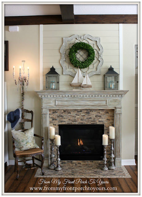 French Country Fireplace-Farmhouse Style Fireplace-Boxwood Wreath-Simple Nautical Fireplace Mantel Display- From My Front Porch To Yours