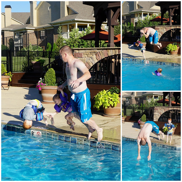 Daddy & Babies Jumping into the Pool